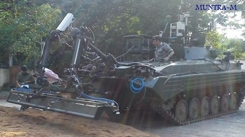 India's un-manned Ground vehicle (UGV) Muntra-M (designed for mine detection missions)