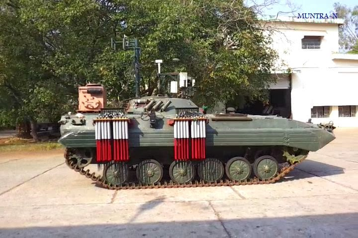 India's un-manned Ground vehicle (UGV) Muntra-N (designed for NBC -- Nuclear, Biological, and Chemical reconnaissance)